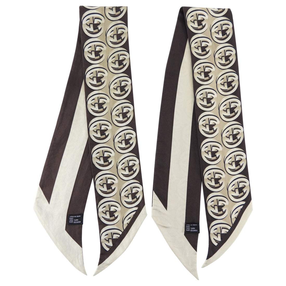 Gucci Brown and Beige Silk Double Thin Scarves