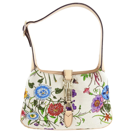 Gucci Canvas Flora New Jackie Small Shoulder Bag