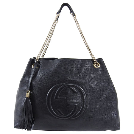 Gucci Black Leather Large GG Logo Soho Chain Tote Bag