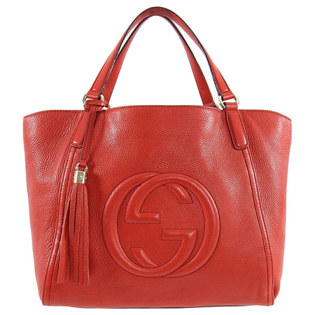 Gucci Red Leather Soho GG Tote Bag