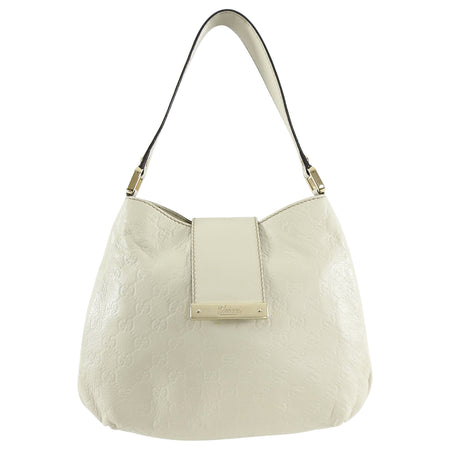 Gucci Ivory Guccissima GG Leather Small Shoulder Bag