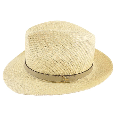 Gucci Straw Fedora Hat with Taupe Leather Band - S