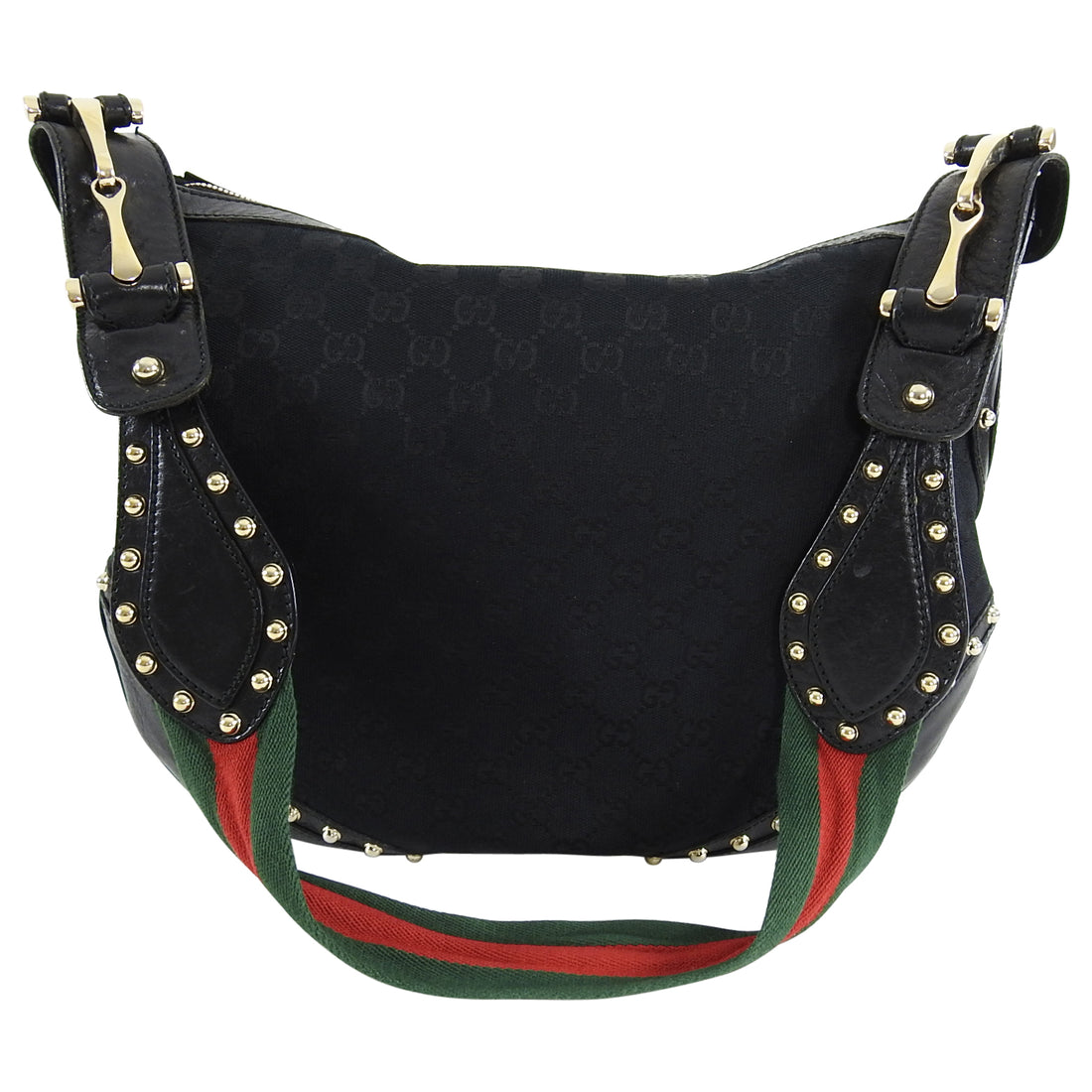 Gucci Black Monogram Canvas Studded Pellam Shoulder Bag
