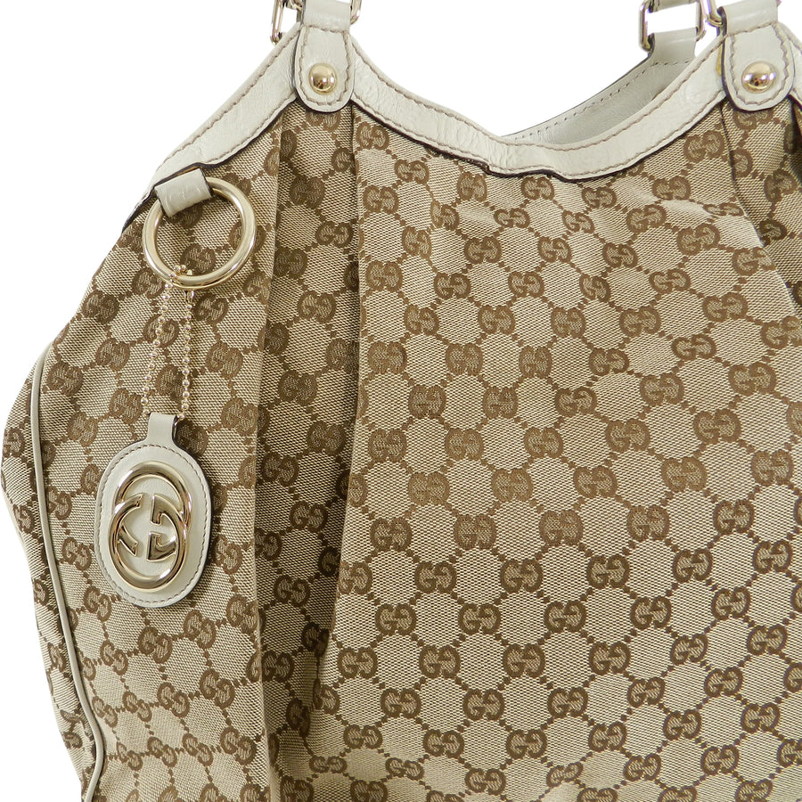 Gucci XL Sukey Ivory Monogram Canvas Hobo Bag Resort 2009