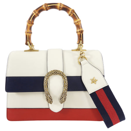 Gucci Medium Dionysus Bamboo Top Handle Stripe Bag