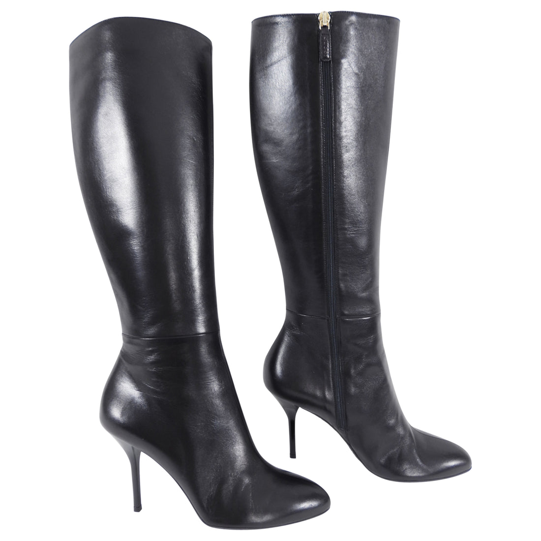 Gucci Black Leather Tall Boots with Stiletto High Heels - 39
