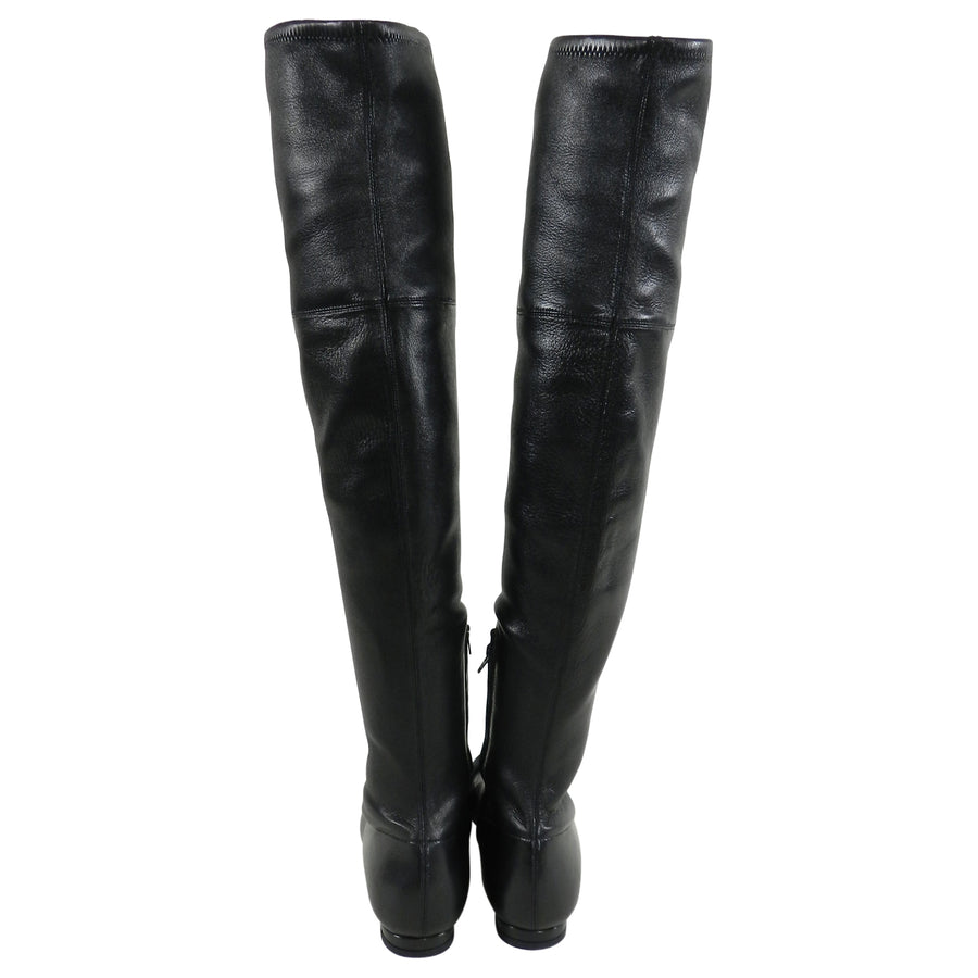 Gucci Over The Knee Tall Stretch Lambskin Leather GG Logo Boots