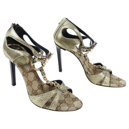 Gucci Tom Ford Fall 2004 Limited Edition Dragon GG Monogram Heels - 6.5