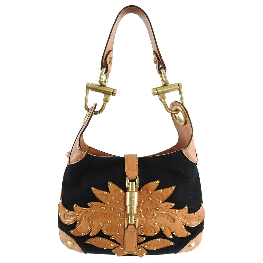a57778f7e696 ... Gucci Small Black Canvas and Brown Tooled Leather New Jackie Bag ...