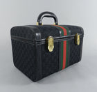 Gucci Vintage 1970's Black Monogram Train Case Bag - Travel Luggage Trunk