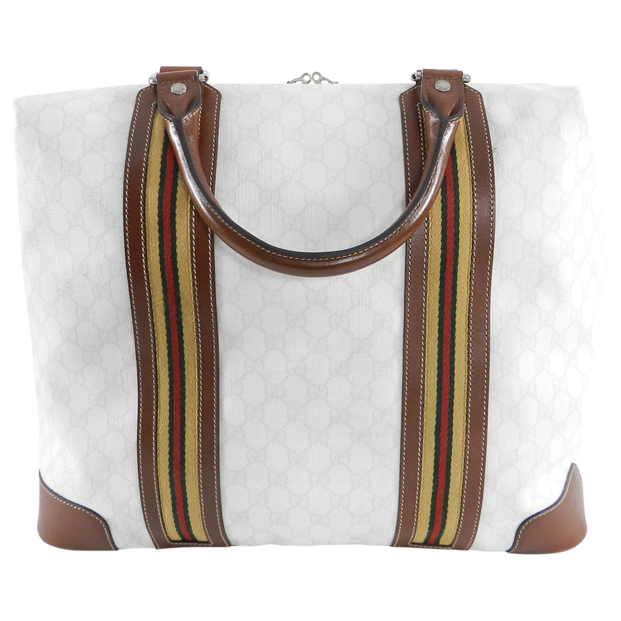 0bb229e8028d Gucci White Monogram Doctor Travel Overnight Luggage Bag – I MISS ...