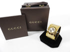 Gucci Gold Monogram Twirl Bangle Cuff Watch 112