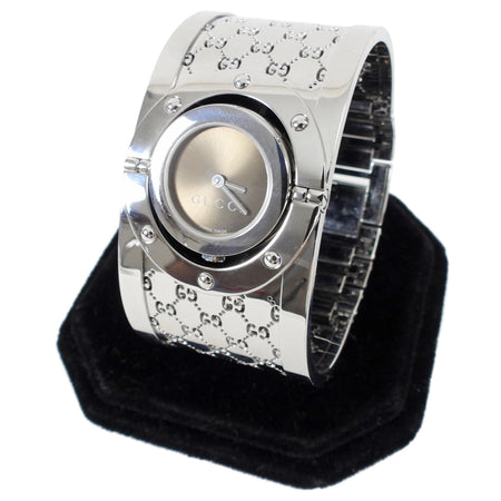 Gucci Wide Silver 112 Twirl GG Bangle Watch