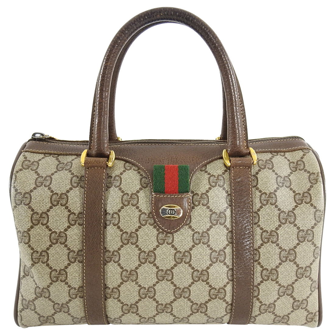 Gucci Vintage 1980's Brown Monogram Canvas Boston Bag