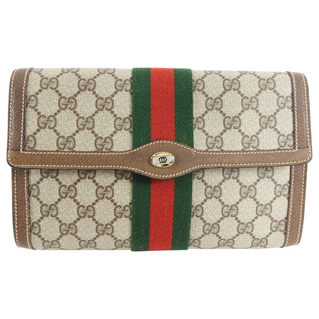 Gucci Vintage 1980's Brown Monogram Canvas Clutch Bag