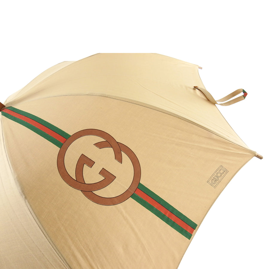 Gucci Vintage 1981 GG Logo Wood Handle Umbrella in box - New with Tags
