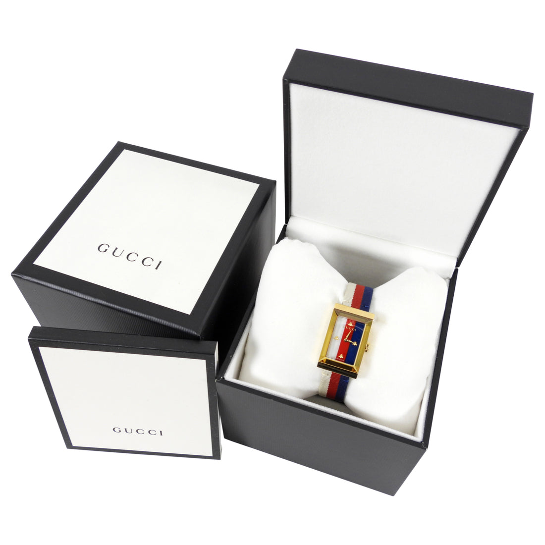 Gucci Blue and Red Mother of Pearl Stripe G Frame Ladies Watch