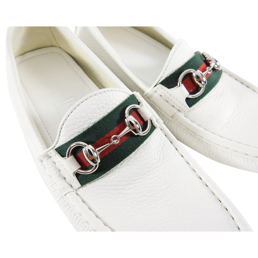 Gucci White Leather Web Stripe Horsebit Driving Shoes