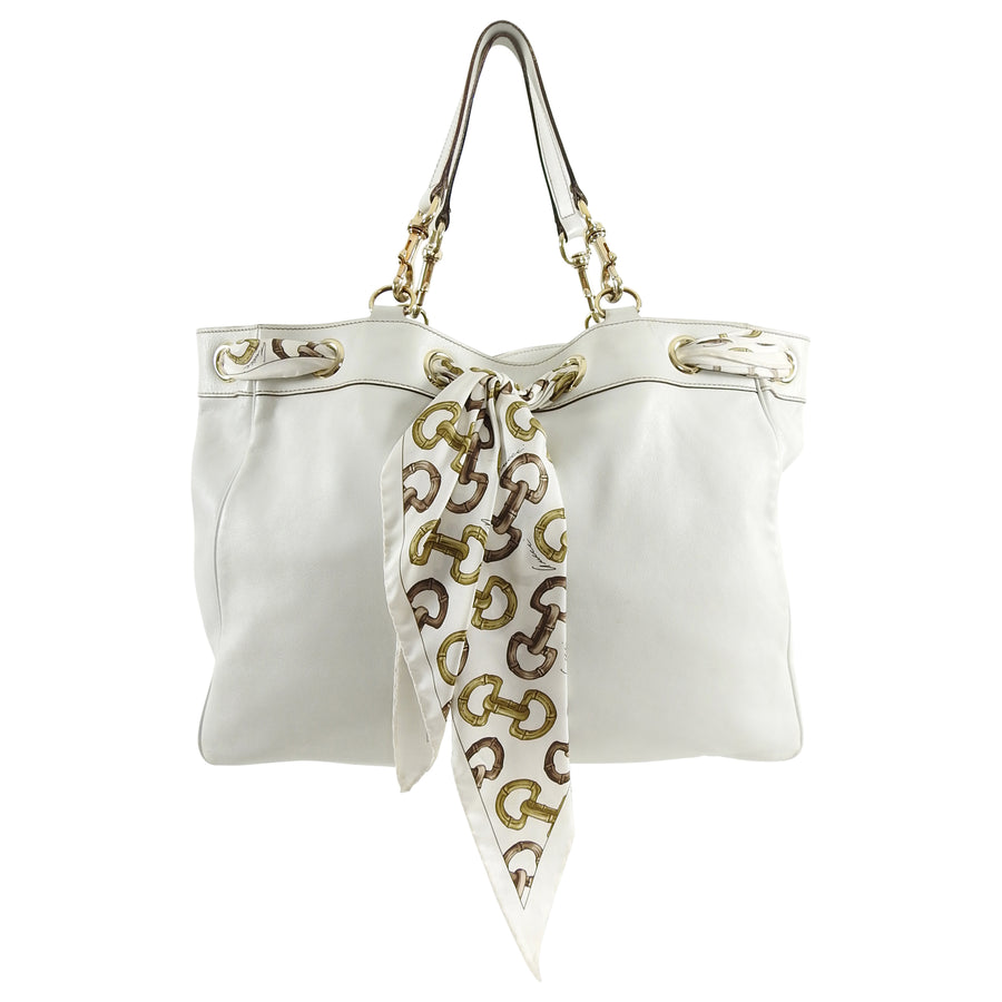 ca9178c4850e6 Gucci White Positano Large Leather Tote Bag with Silk Scarf – I MISS ...