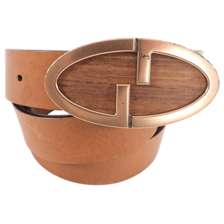 Gucci Tan Leather Belt with Wood Buckle - 85 / 34