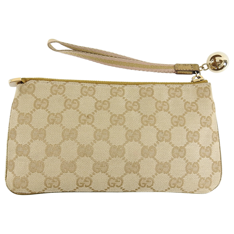 dcfb9c49f76555 Gucci Gold Monogram Canvas Small Wristlet Pouch Bag – I MISS YOU VINTAGE