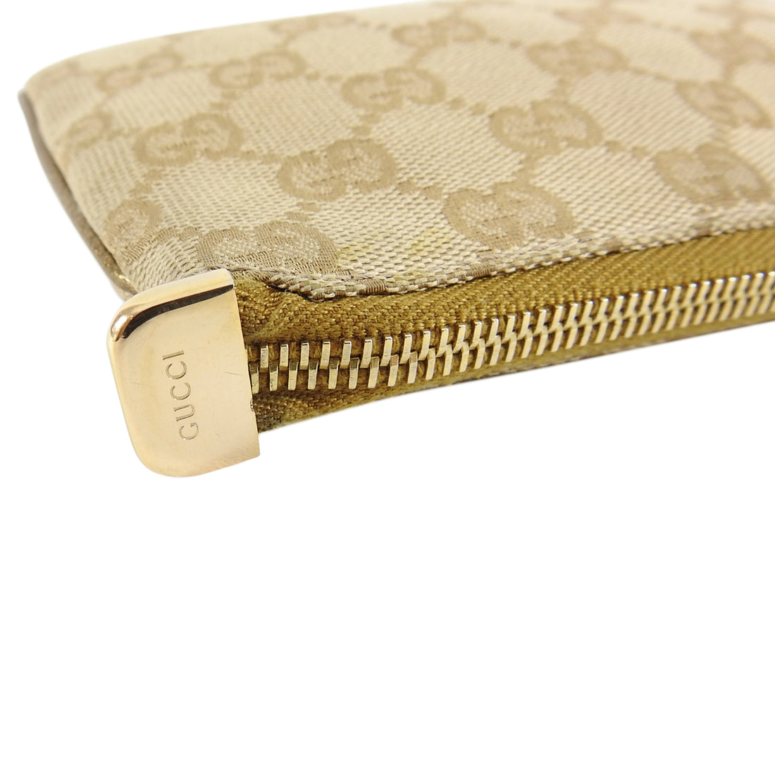Gucci Gold Monogram Canvas Small Wristlet Pouch Bag