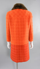 Vintage Couture early 1960's Norman Hartnell Orange Wool Dress and Jacket Suit