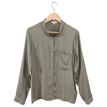 Helmut Lang Olive Green Silk Long Sleeve Minimalist Blouse - M