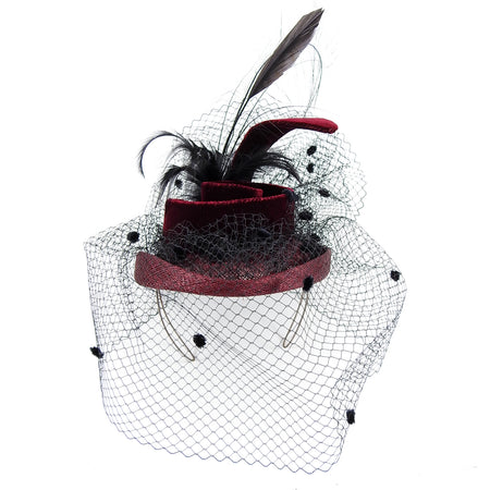 Herbert Johnson Burgundy Velvet Black Net Fascinator Hat