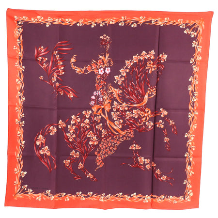 Hermes Red Floral Horse Cheval Fleuri Silk 90cm Scarf