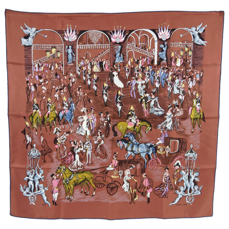 Hermes Paddock Champs Brown 90cm Silk Scarf