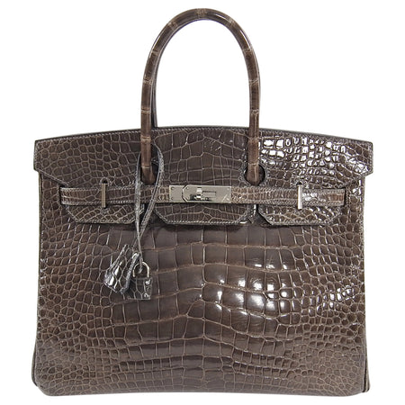 Hermes Birkin 35 Shiny Glazed Gris Elephant Alligator PHW