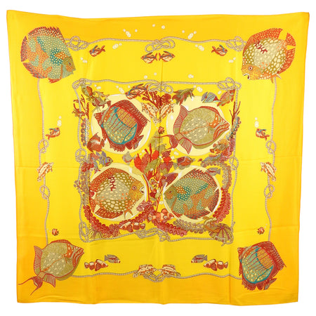 Hermes Orange Tropical Fish Cashmere 140cm Shawl Scarf