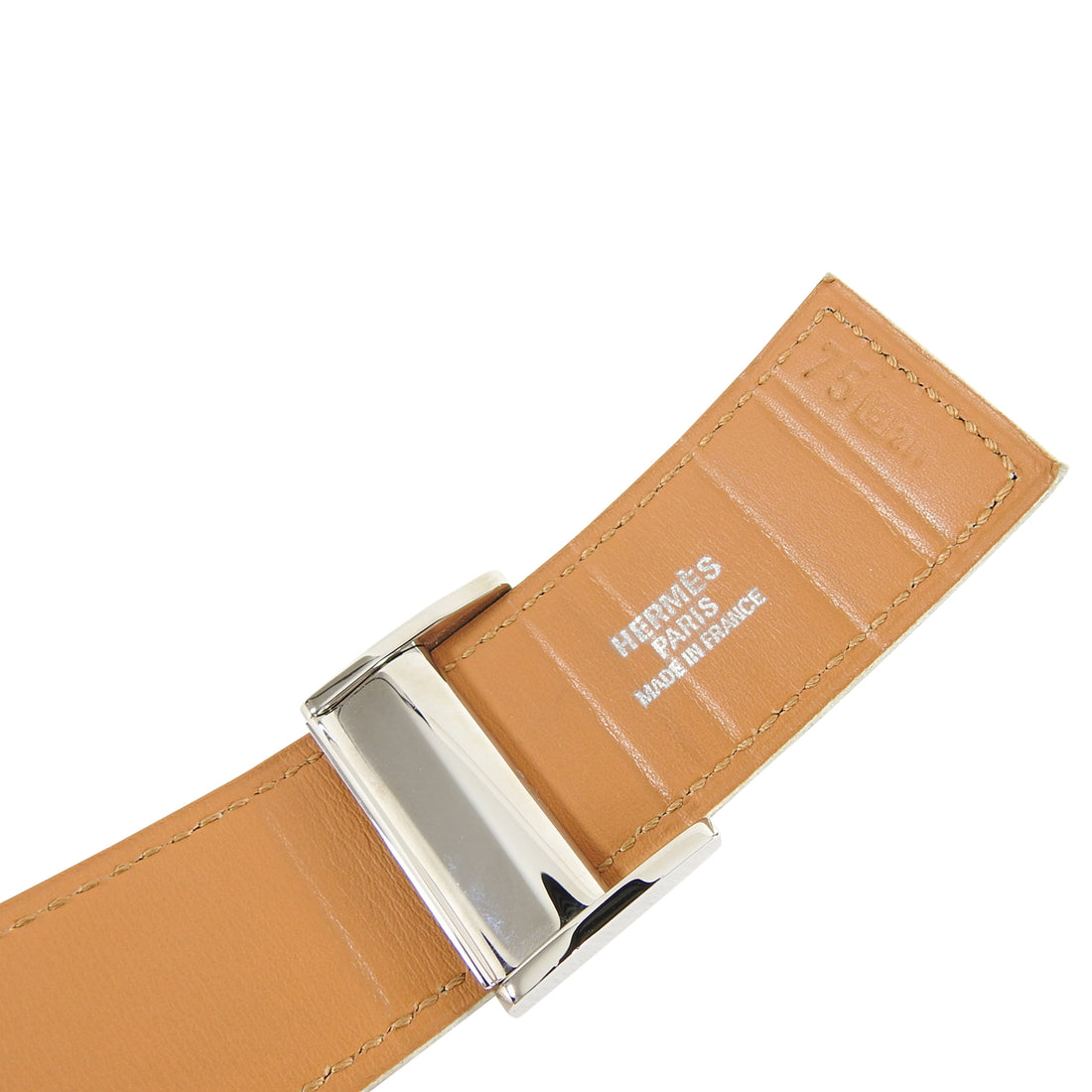 Hermes Tan Leather Clou de Selle Belt - 75