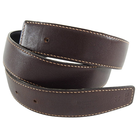 Hermes Dark Brown and Black Leather Belt Strap - 80
