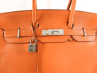Hermes Birkin 35 Bag in Orange Clemence Palladium