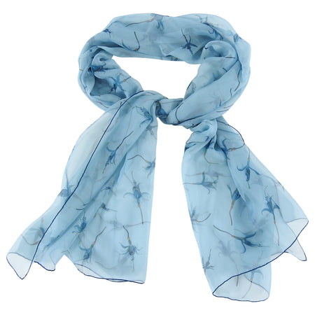 Hermes Blue Sheer Silk Chiffon Long Scarf