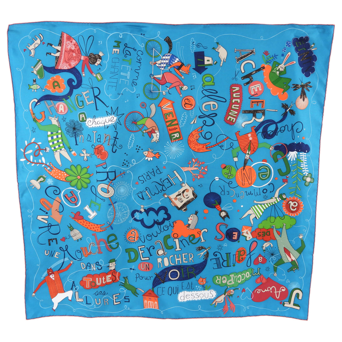 Hermes Les Confessions Blue and Orange Silk 90cm Scarf