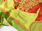Hermes Brandenbourgs Lime Green Military 90cm Silk Scarf