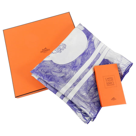 Hermes Purple and White Brides de Gala en Finesse 90cm Silk Scarf