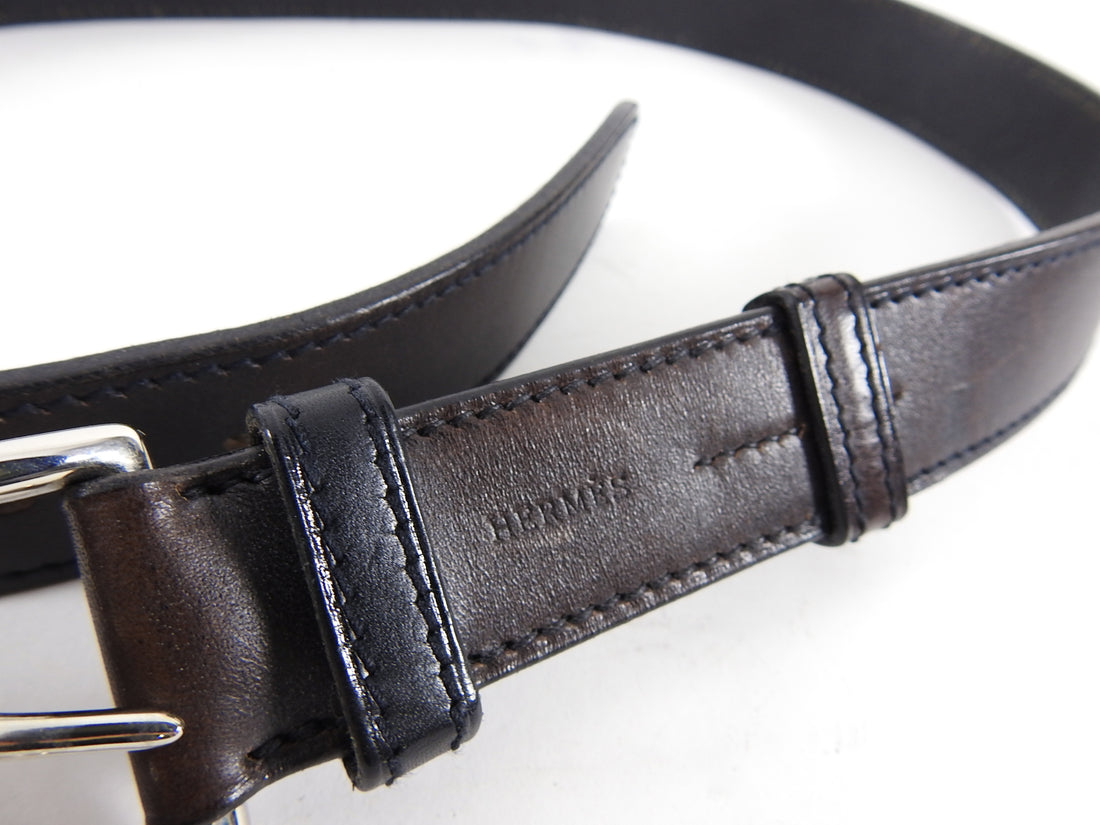 Hermes Dark Brown Leather Etriviere H Belt SHW - 85 / 34