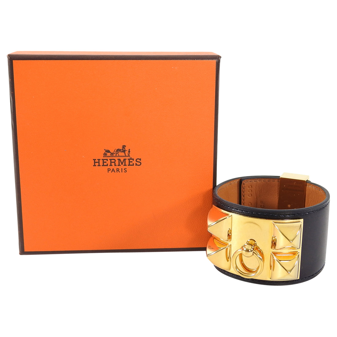 Hermes Collier De Chien Black and Gold Cuff Bracelet