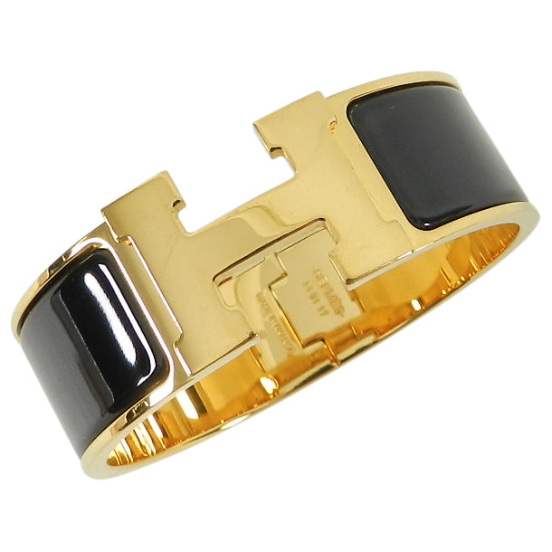 "Hermes Clic Clac Wide ""H"" Bracelet Black with Gold PM"