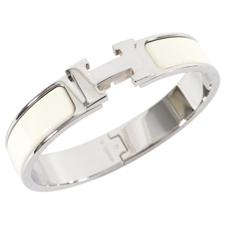 Hermes Narrow Clic H Bracelet in Craie and Silver