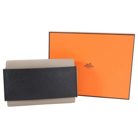 Hermes Passant Compact Wallet in Black and Etain Epsom Leather