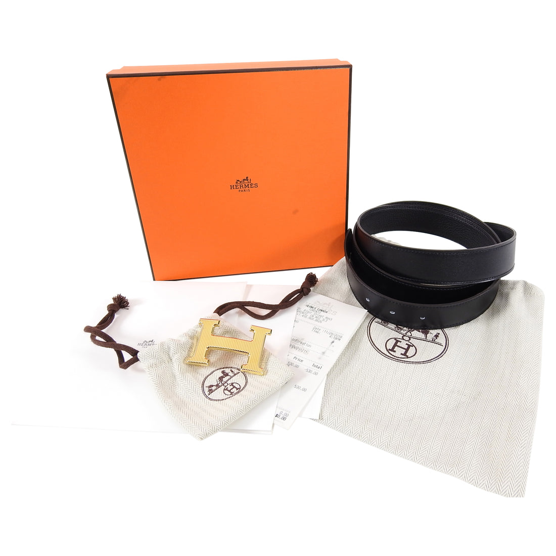 Hermes Constance H Belt Kit Black and Gold 32mm - Size 105