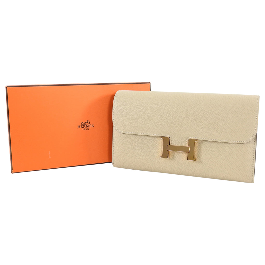 Hermes Constance Long Wallet Trench Rose Gold Epsom Leather