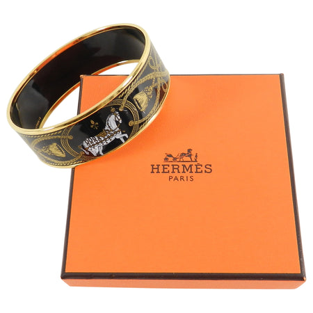 Hermes Wide Black and Gold Enamel Horse Bangle Bracelet