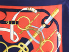 Hermes Eperon D'or Silk Twill 90cm Scarf Red and Navy