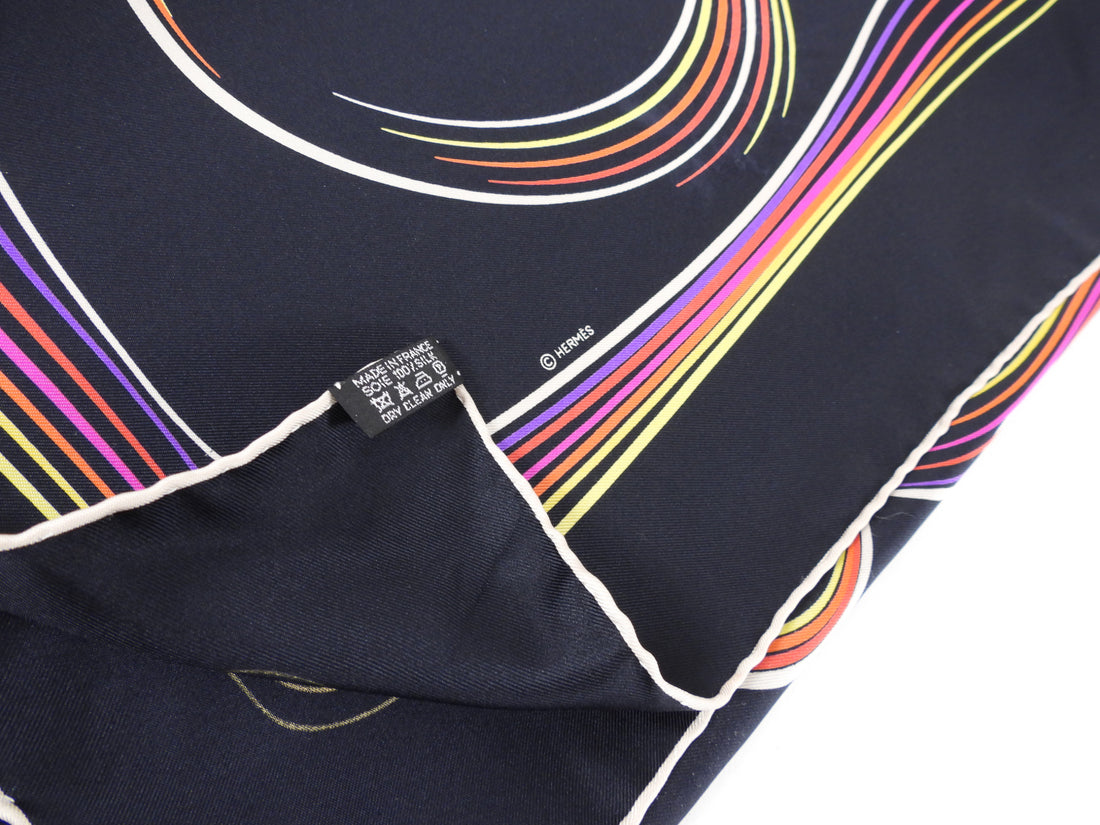 Hermes 24 Faubourg Black and Multi Silk 90cm Scarf